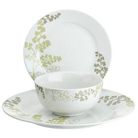 Tu Green Fern Porcelain 12-piece Dinnerware Set