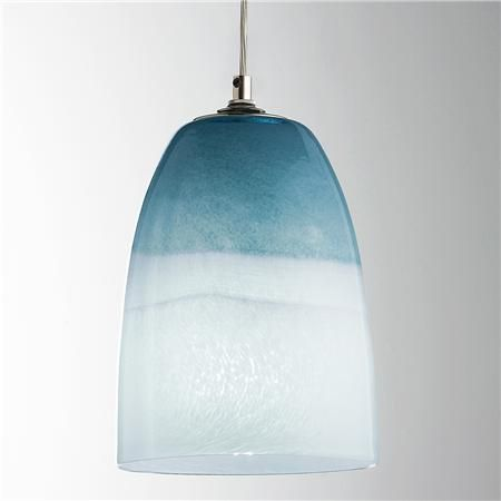 Strata Sky Glass Pendant Light Ocean and sky comingle in this blue art glass pendant light. Since this glass is hand blown, each pendant will be unique and have variations in size, depth of color and width of color bands. #BeachHouseCoastalDecor
