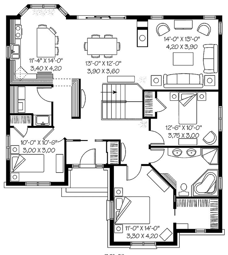 Open Floor House Plans | Open Floor Plan For Entertaining (HWBDO13593) |  Country House