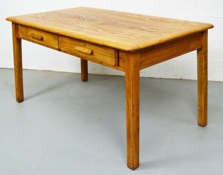 Mid Century Oak Desk Table