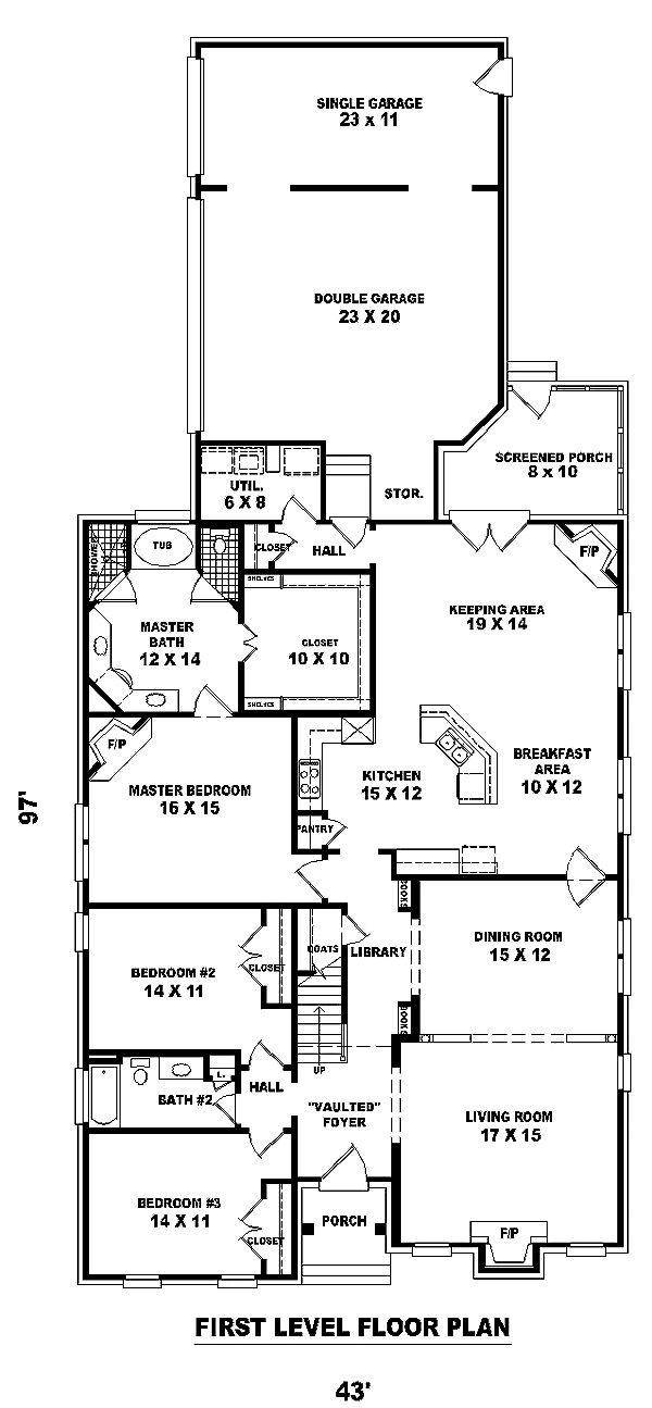 First Floor Plan of Craftsman   House Plan 48570