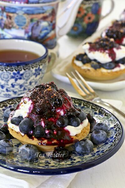 Easy Blueberry Cream Cheese Tarts using ready-to-fill tart shells. Only minutes to prepare the sauce.  | Tea Tattler