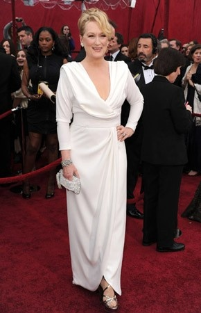Celebrity Dresses Meryl Streep White Formal Dress Oscar 2010 Red Carpet ECC2679