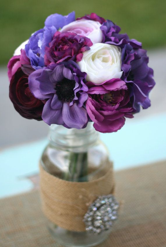 Bride Bouquet Cream Ivory Deep Purple Violet Lavender Vintage Antique Roses & Ranunculus Rustic Chic Weddings By Morgann Hill. $79,99, via Etsy.