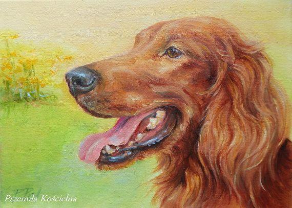 Irish Setter, Dog portrait , Original oil painting  by CanisArtStudio #dog #Irishsetter #portrait #original #oilpainting #petportraits #CanisArtStudio