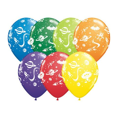 Aliens and Spaceships Latex Balloons.  These galactic space themed bright coloured balloons are perfect for your outer space, alien or galaxy themed party  Assorted Designs; price is per (1) single balloon;  28cm; Latex