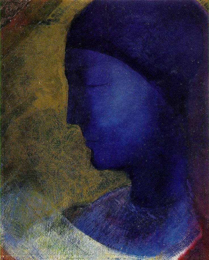 The Gold Cell   , 1892   by Odilon Redon: Golden Cell, Blue Profile, Oil Paintings, Art Paintings, Odilon Redone 1892, Gold Cell, Cell 1892, 1892 Odilon, Redone 18401916