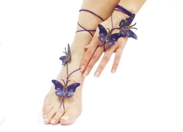 12 colore opzioni sandalo a piedi nudi, Deep Purple Butterfly, bracciale cavigliera, celebrazioni di primavera, spiaggia nozze, piede infradito di CatsAndSheeps su Etsy https://www.etsy.com/it/listing/176202668/12-colore-opzioni-sandalo-a-piedi-nudi