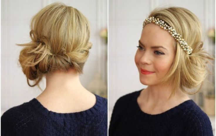 This Gatsby inspired look will be the rage at your next holiday party. To replicate this look you'll need a jeweled headband & Mastey's Color Protecting Hair Spray. Place the headband across forehead and base of the head on top of hair. Take small sections of hair and loop inside headband. Continue across head until you reach the other side. Loop large last section of hair through the headband by ear and spray in place for an all evening hold.  www.masteyhaircolor.com  Photo Credit…