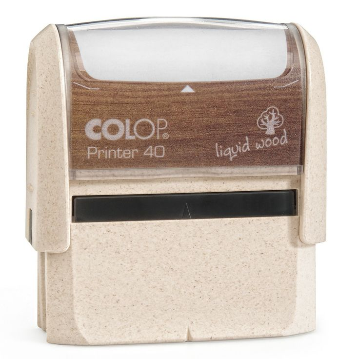 Colop Printer 40 Liquid Wood. Montuur stempel gemaakt van restproduct papierindustrie.