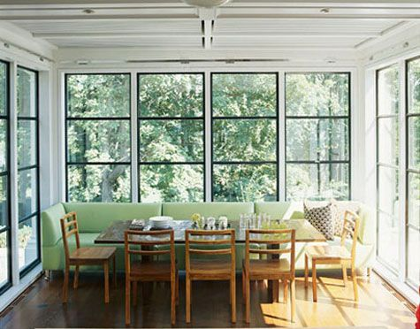 Another dining room solution with a couch: Dining Rooms, Black Window, Kitchens Banquettes, Bench Seats, Breakfast Nooks, Dining Nook, Small Spaces, Steel Window, Dining Tables