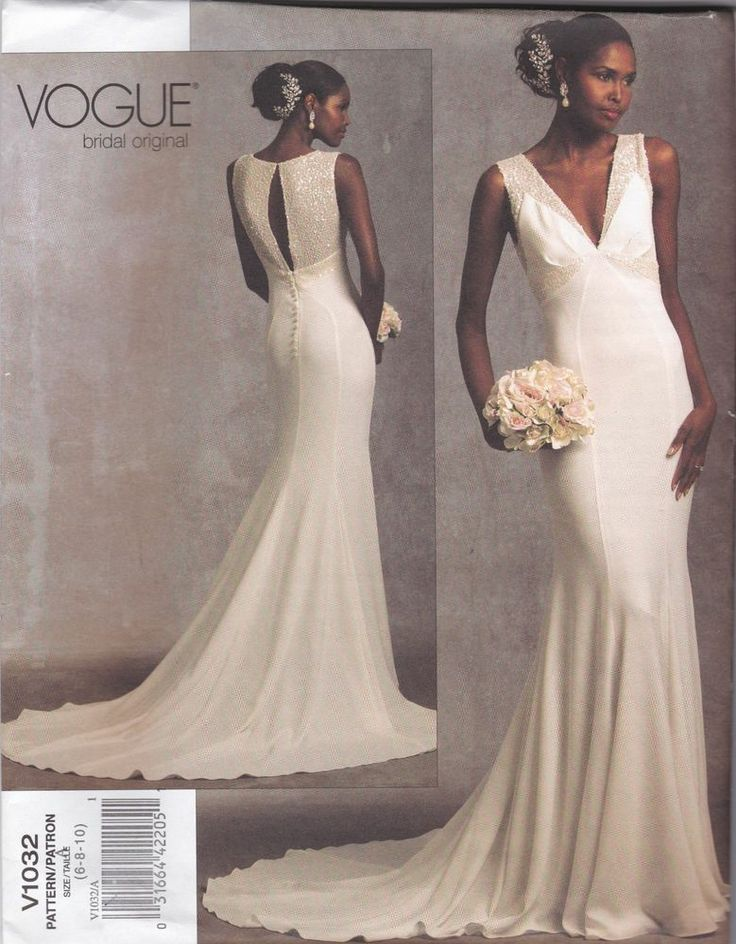 V1032 Vogue Wedding Dress SEWING PATTERN Sizes 6 8 10 UNCUT Average Difficulty