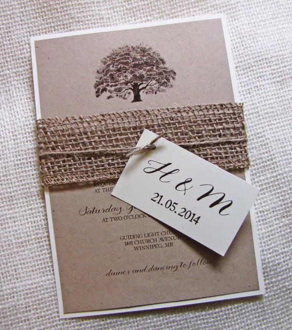Oak Tree Wedding Invitation , Rustic Wedding Invitation,  Burlap, Kraft Wedding