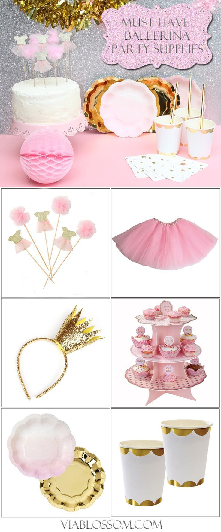 Must Have Ballerina Party Supplies for a Magical girl birthday party! If you are planning a Ballerina Party then you will love our Ballerina decorations!  Shop all at http://viablossom.com