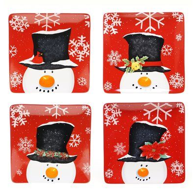 The Holiday Aisle Top Hat Snowman 4 Piece Dinner Plate Set