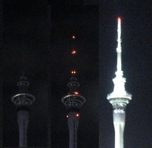 Sky tower Auckland turns off lights for earth hour 2013 #earthhour2013.