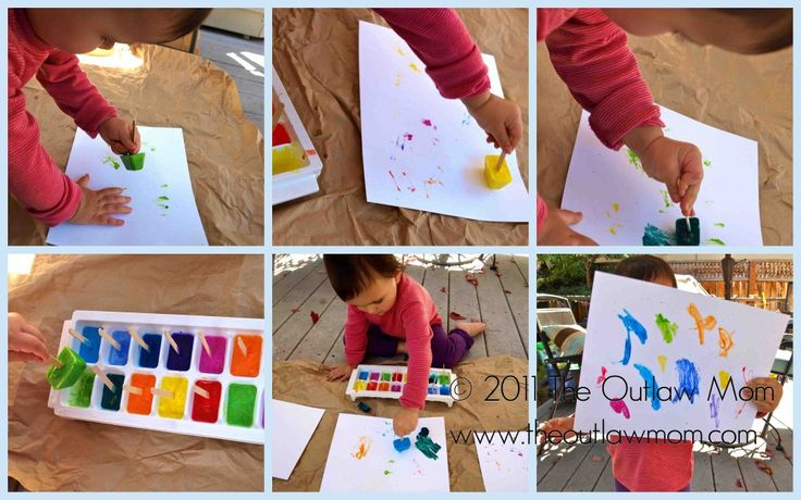 Ice cube painting. I love the creative progression from beginning to end in the shots! Adorable messy fun :)