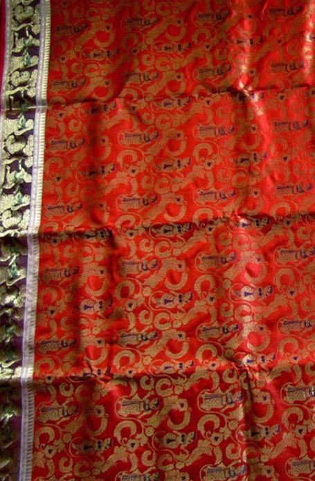 Orange Handloom Swarnachari Pure Silk Saree