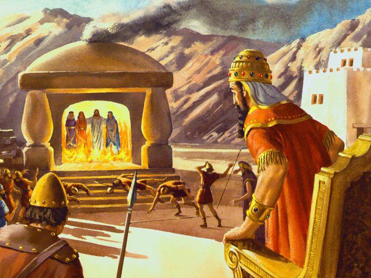 Hananias, Misael e Azarias com Jesus na fornalha