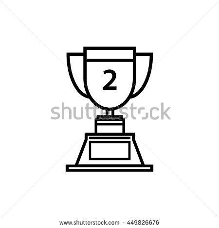 Trophy icon 2nd winner , line art vector Illustration.