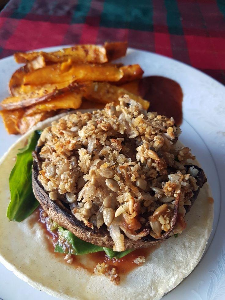 Stuffed Mushroom Burgers and Dijon Coated Wedges #KeepItVegan