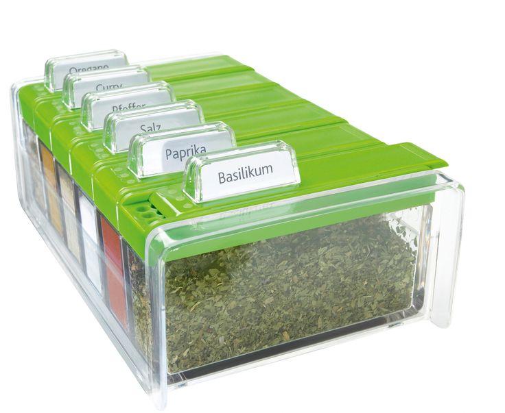 SPICE BOX - pojemnik na przyprawy, zielony- EMSA - DECO Salon. container for spices - is ingenious and functional organizer for spices known German brand EMSA. #reddotaward #design #kitchenaccessories #kuchnia
