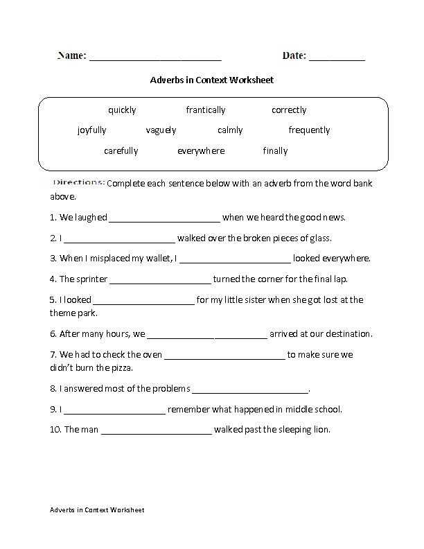 Free Adverbs Worksheets for use at school or home. An adverb is a word that  describes a verb, an adjective or another verb. Adverbs tell when, where or  why ...