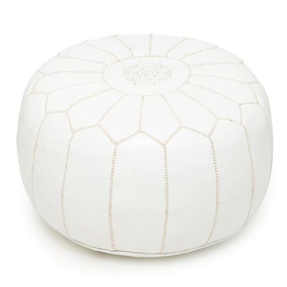 Moroccan Designer luxury White Leather Pouf Hand Stitched and Embroidered