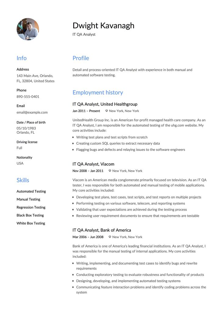 IT QA Analyst Resume & Guide Resume examples, Resume