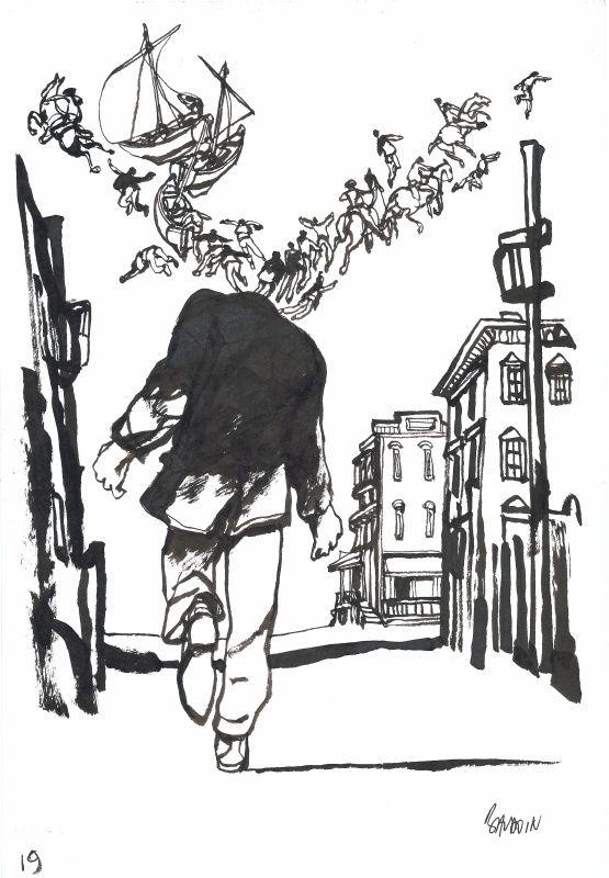 L'homme aux semelles de vent... par Edmond Baudoin - Planche originale