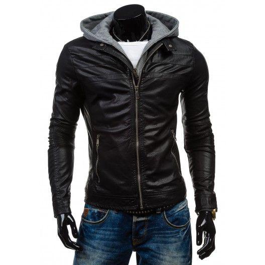 Štýlový pánska kožená bunda čiernej farby s kapucňou - fashionday.eu