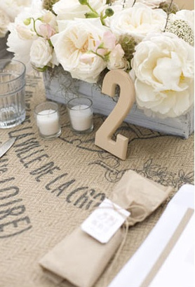 Love this table scape!  These wooden numbers are so inexpensive and would look great at #LeGrand
