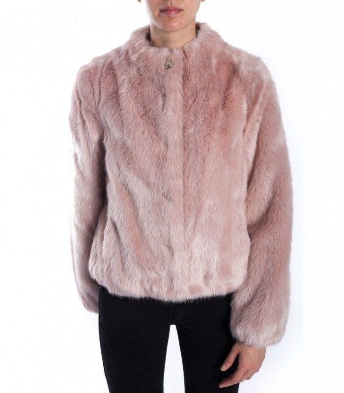 PATRIZIA PEPE Boheme Rose faux fur jacket 2l0743 a2wn_br