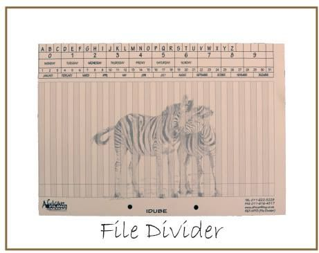 The two prong punched file divider card depicts the Zebra and can be labeled with our self adhesive labels to write or print your own customised labels.