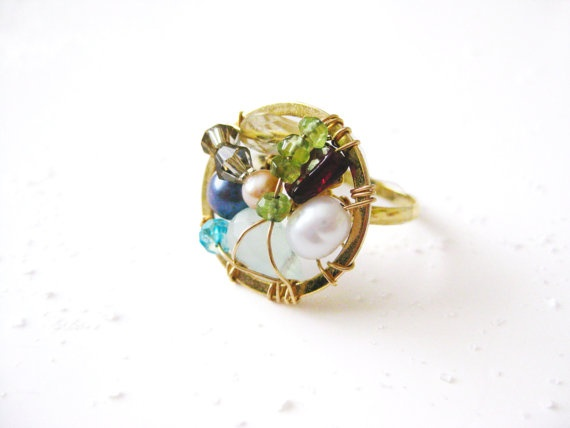 Dream Catcher Gold Ring Gemstone Handmade Wire Colorful Dream Catcher Ring