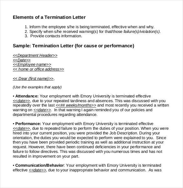 free termination letter template sample example format memo absenteeism samples