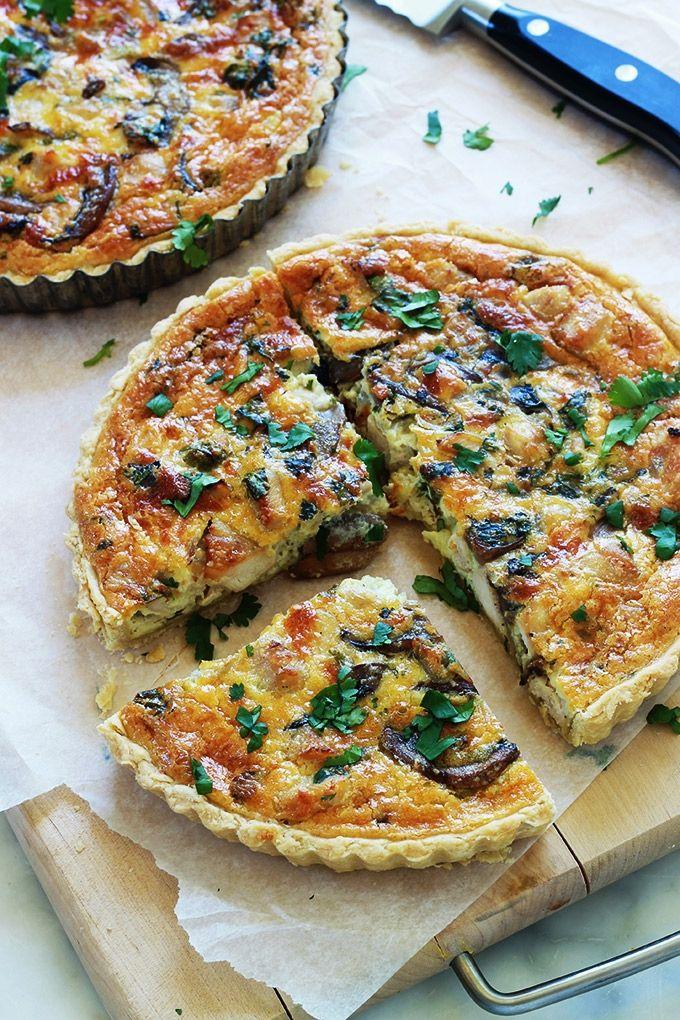 Recette de la quiche au poulet et champignons simple - Recette de cuisine quiche au poulet ...