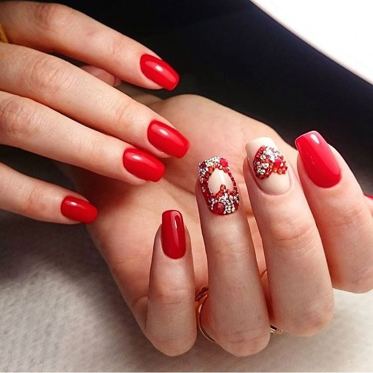 Beautiful evening nails, Beautiful red nails, Evening nails, Heart nail designs, Luxury nails, Manicure in red colors, Nails with rhinestones, Nails with rhinestones ideas