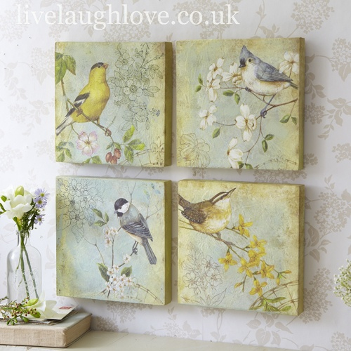 Bird Pictures - Set of 4 - love this, just need to find suitable images, transfer to small canvas squares, antique a bit ... might hang with ribbons from a wrought iron bar or branch
