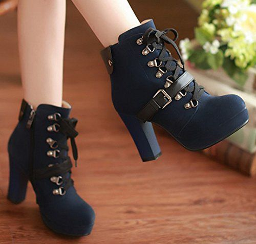 Women's Vintage Lace Up Side Zip Up High Heel Chunky Platform Martin Boots