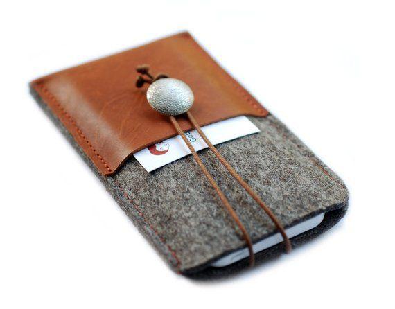 Wollfilz & Leder Handytasche 2x Tablett Karamell   – Nähen