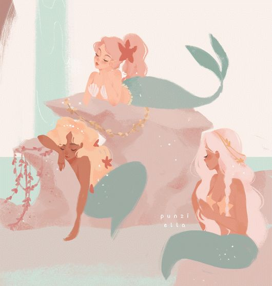 mermaid peter pan digital art cute sexy gif animation animated cartoon