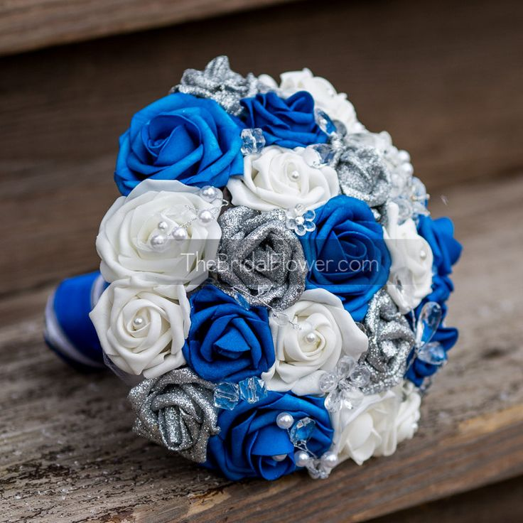 Royal Blue Silver And White Wedding Bouquets : Ideas about blue wedding bouquets on