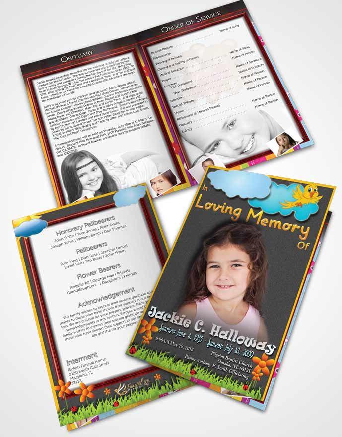 Bifold Order of Service Obituary Template Brochure Summer Love