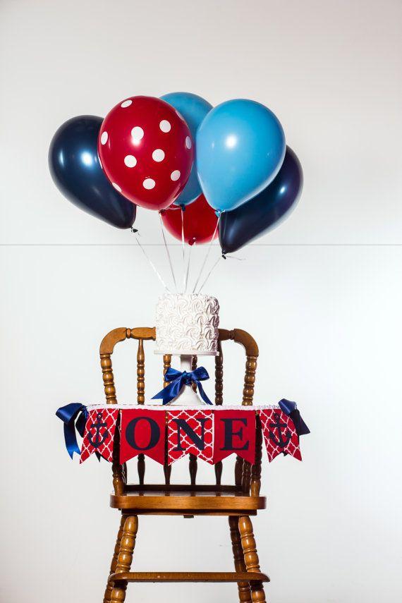 ONE HIGHCHAIR BANNER / Nautical 1st birthday / First birthday banner / One birthday banner / Nautical first birthday / Anchor 1st birthday