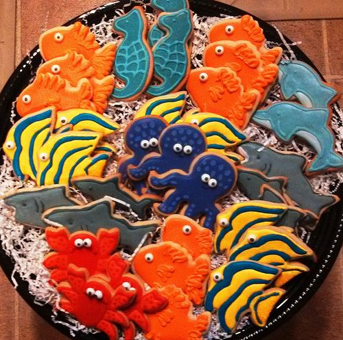 Under the sea theme decorated cookies - crabs, sharks, dolphins, gold fish, angel fish, octopus.