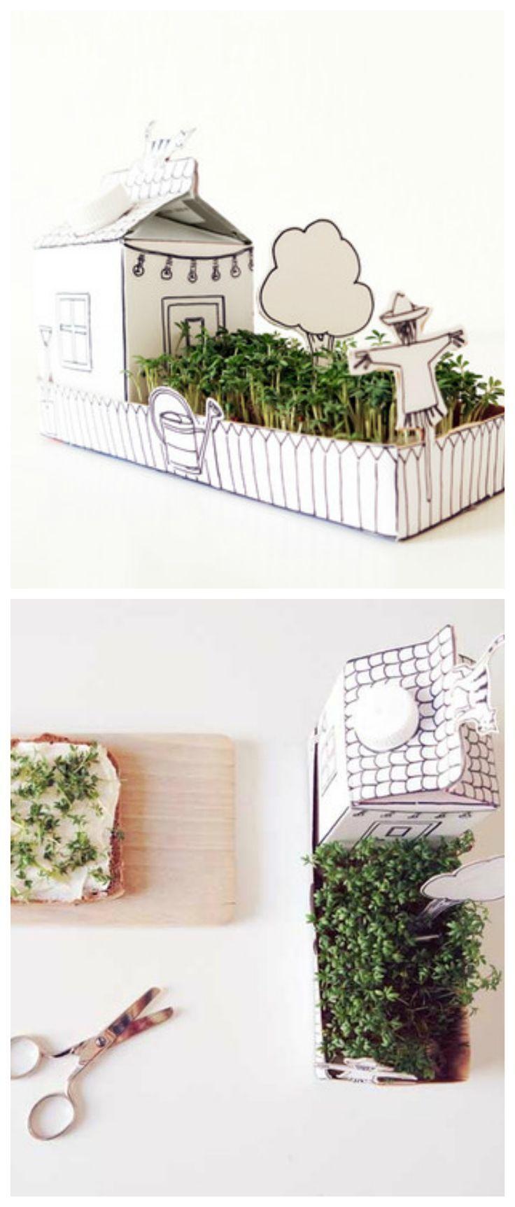 DIY-Kit für ein Papierhaus für einen kleinen Kressegarten/ diy-kit: paper house for a little cress garden made by Parzelle43 via DaWanda.com