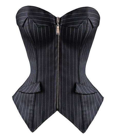 Black Pinstripe Strapless Corset - Plus Too Nice! (rétrogirl)