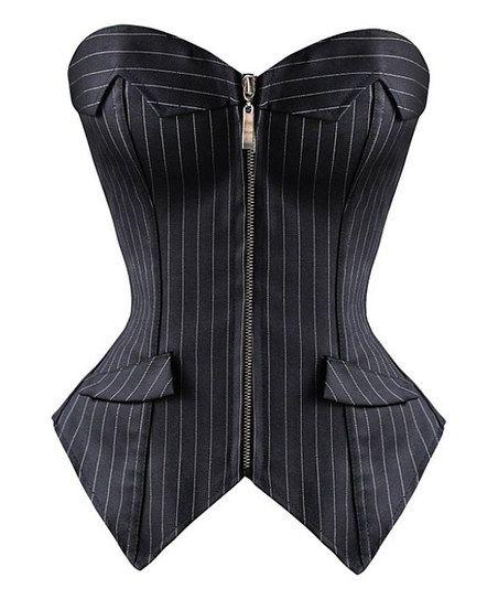 Black Pinstripe Strapless Corset