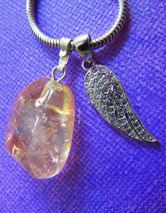 Halskette Citrin Engelsflügel Edelstein Gelb von Bezauberndes